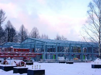 Каркас посадочной станции и выездной галереи нового аттракциона в парк Диво Остров